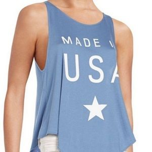 Wildfox Made in USA Graphic Tank Top Perriwinkle